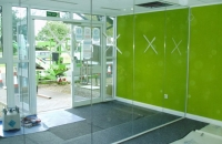 Reception glass partition and doors