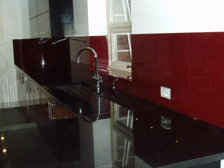 Dark red kitchen splash back Norfolk