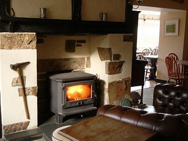 Ceramic Glass Woodburner in country pub