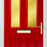 Composite Tudor Glazed Red Door
