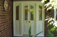upvc panelled white front door and sidelights