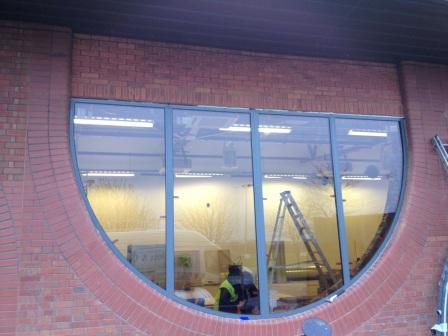 Installing new shaped windows - external view